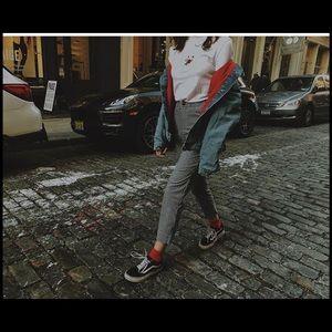 Brandy Melville jean oversized red lined jacket